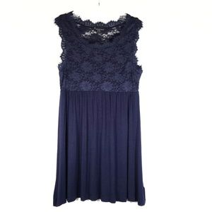 F21 navy knit & lace dress